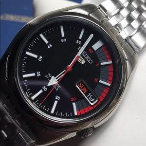Seiko Automatic Men Black and Red face Watch New